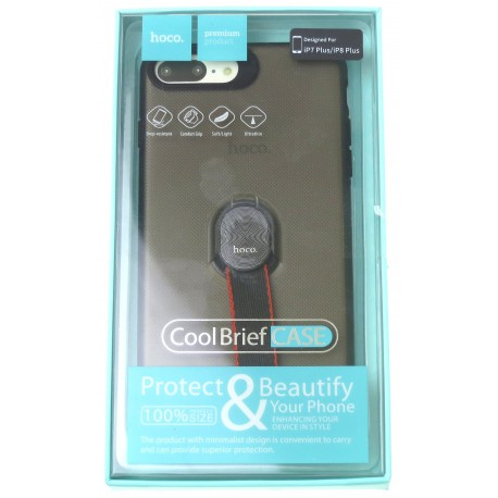 hoco. Apple iPhone 7 Plus, 8 Plus transparent cover with magnetic finger holder black