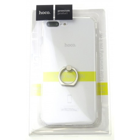 hoco. Apple iPhone 7 Plus, 8 Plus transparent cover with finger holder silver