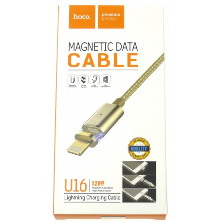hoco. U16 magnetic adsorption lightning charging cable gold