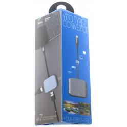 hoco. HB7 konvertor typ-c na HDMI+USB3.0+USB2.0 šedá