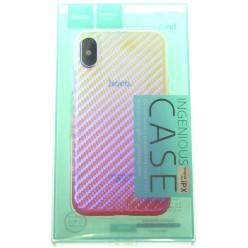 hoco. Apple iPhone X transparent cover lattice pink