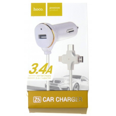 hoco. Z5 car charger with three in one cable white