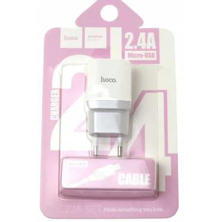 hoco. C22A charger set with micro cable white
