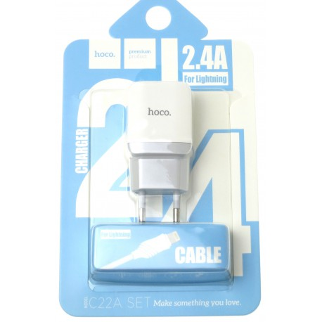 hoco. C22A charger set with lightning cable white