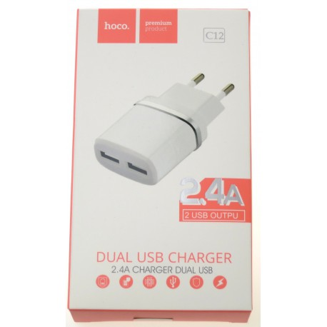 hoco. C12 dual USB charger white