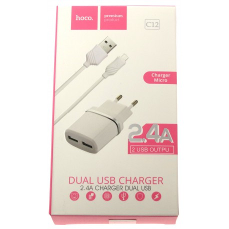 hoco. C12 dual USB charger with micro cable white