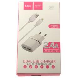 hoco. C12 nabíječka dual USB s lightning kabelem bílá