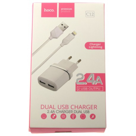 hoco. C12 dual USB charger with lightning cable white