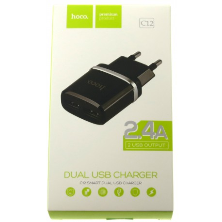 hoco. C12 dual USB charger black
