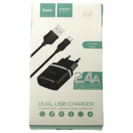hoco. C12 dual USB charger with micro cable black
