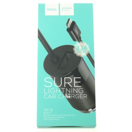 hoco. Z17 USB port with lighting cable car charger black