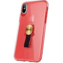 hoco. Apple iPhone X pouzdro transparentní s magnetickým držákom červená