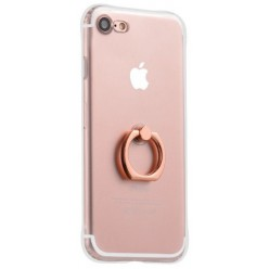 hoco. Apple iPhone 7, 8 transparent cover with finger holder pink