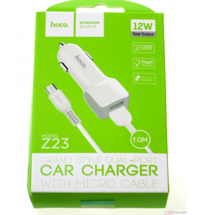 hoco. Z23 dual USB car charger with micro cable white