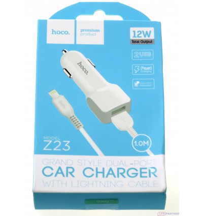 hoco. Z23 dual USB car charger with lightning cable white
