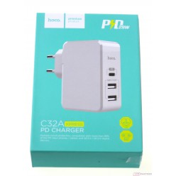 hoco. C32A charger port 3x white