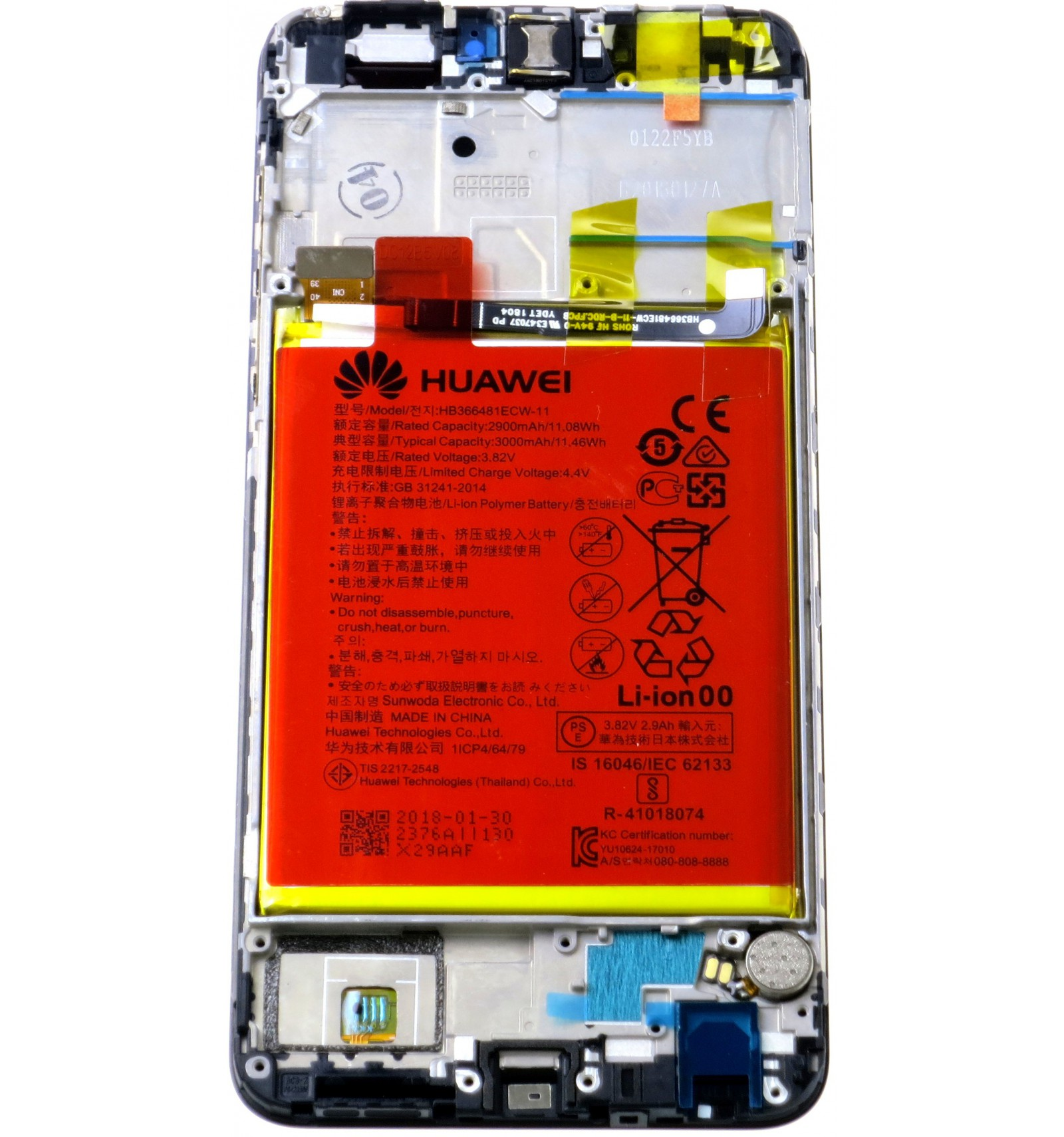 Huawei P Smart LCD touch screen frame small parts black original