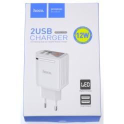 hoco. C39A nabíjačka dual USB biela