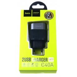 hoco. C40A nabíječka dual USB s LED displejem černá