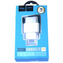 hoco. C40A nabíječka dual USB s LED displejem bílá