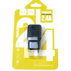 hoco. C22A nabíjačka dual USB čierna