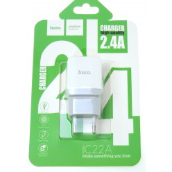hoco. C22A nabíjačka dual USB biela