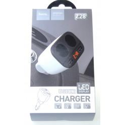 hoco. Z28 autonabíjačka dual USB s LED displejom biela