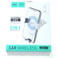hoco. CW17 držiak do auta + bezdrôtová nabíjačka biela