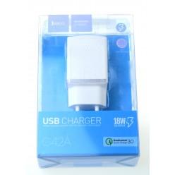 hoco. C42A USB rýchlonabíjačka biela