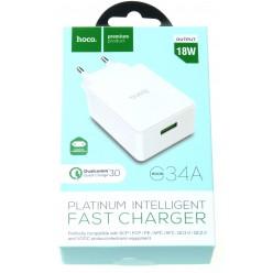 hoco. C34A USB rýchlonabíjačka biela