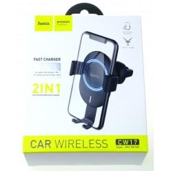 hoco. CW17 držiak do auta + bezdrôtová nabíjačka čierna