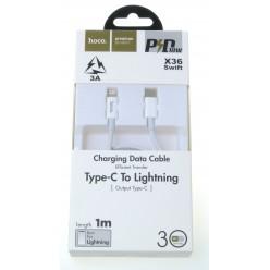 hoco. X36 kábel lightning to typ-c biela