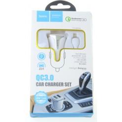 hoco. Z31 lightning kabel autonabíječka s USB vstupem QC 3.0 18W bílá
