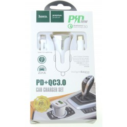 hoco. Z31A lightning kabel autonabíječka s USB vstupem PD+QC 3.0 18W bílá