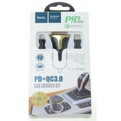 hoco. Z31A lightning kabel autonabíječka s USB vstupem PD+QC 3.0 18W černá