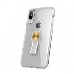 hoco. Apple iPhone 7, 8 transparent cover with magnetic finger holder clear