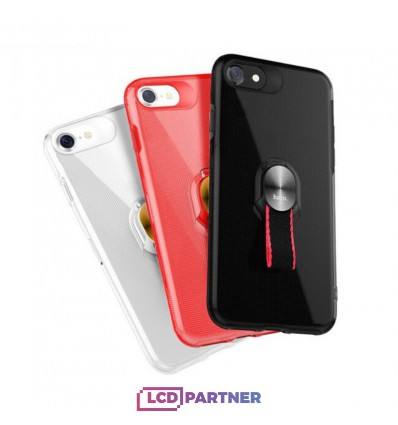hoco. Apple iPhone 7, 8 transparent cover with magnetic finger holder red