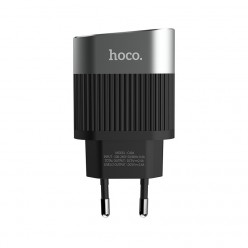 hoco. C40A dual USB charger with LED display black