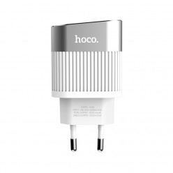 hoco. C40A dual USB charger with LED display white