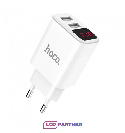 hoco. C63A dual USB charger with Digital display white