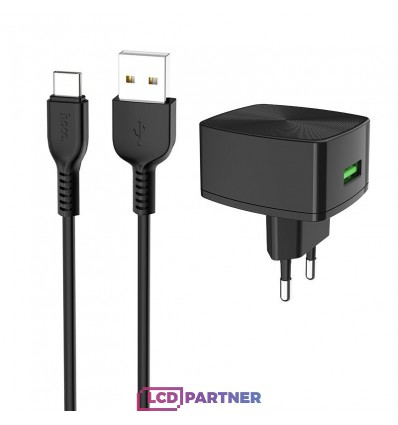 hoco. C70A USB rapid charger quick charge with type-c cable 3.0 18W black