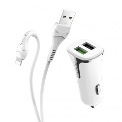 hoco. Z31 USB port with lighting cable car charger QC 3.0 18W white