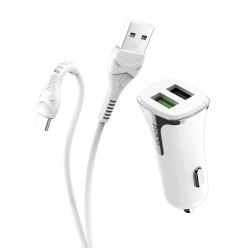 hoco. Z31 USB port with type-c cable car charger QC 3.0 18W white