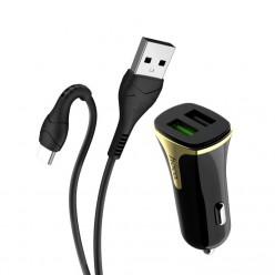 hoco. Z31 USB port with type-c cable car charger QC 3.0 18W black