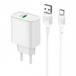 hoco. C69A USB rapid charger quick charge with type-c cable 3.0 22.5W white