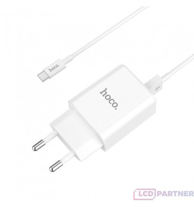 hoco. C62A dual port charger set with type-c cable white