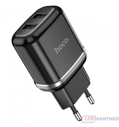 hoco. N4 nabíjačka dual USB čierna