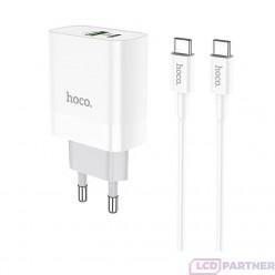 hoco. C80A typ-c kábel nabíjačka s USB vstupom QC 3.0 18W biela