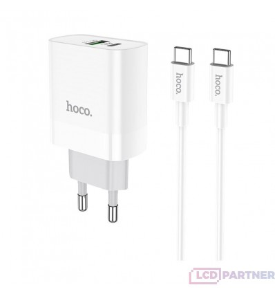 hoco. C80A USB port with type-c cable charger QC 3.0 18W white
