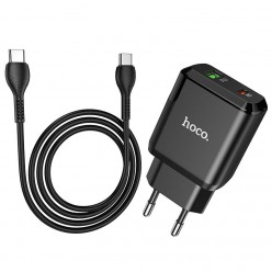 hoco. N5 dual port charger set type-c to type-c 20W black